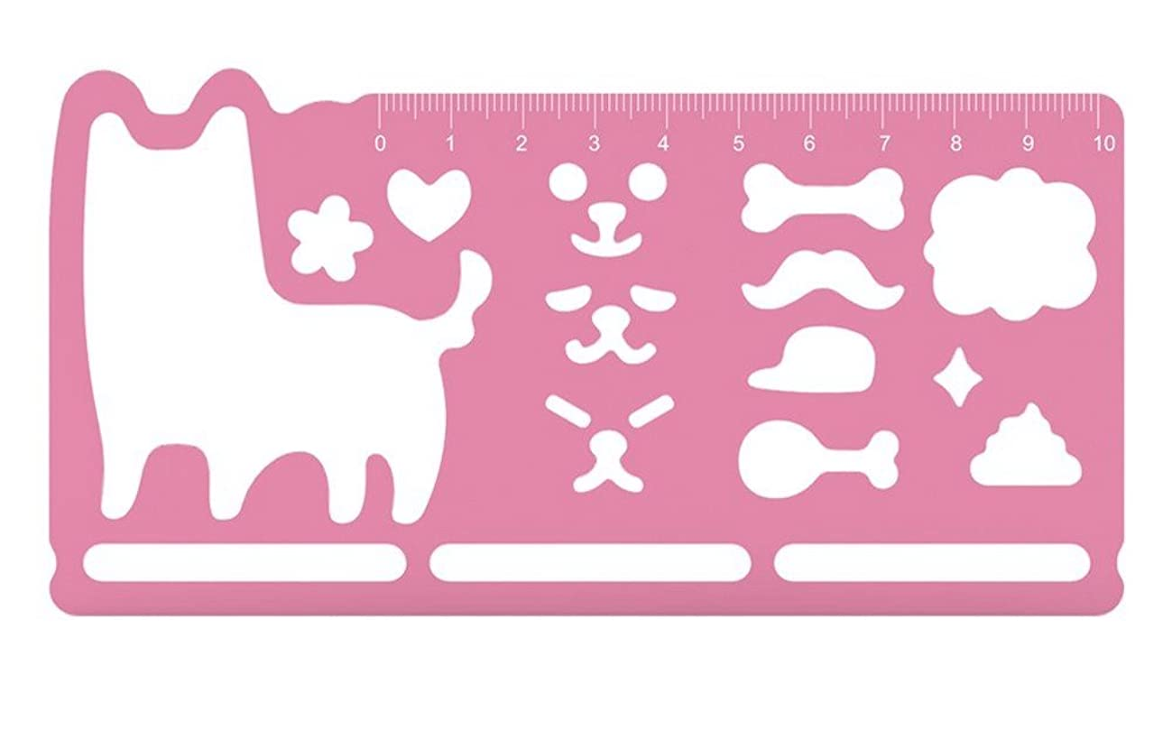 Desk+1 Stencil Ruler Shiba Inu Drawing Painting Scale Animal Template Bookmark Rule Gift Stationary Party Favors, Pink, 6