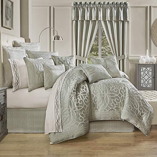 Five Queens Court Nouveau Modern Luxury Geometric Jacquard King 4 Piece Comforter Set, Spa, Queen 92X96