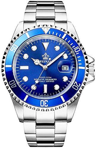 Men's Luminous Watch Rotatable Bezel Sapphire Glass Blue Dial Stainless Steel Quartz Watches 40M (Blue)