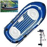 Barca Hinchable Kayak con Motor Electrico PVC Duradero Bote Inflable Portátil Balsa para Rafting Gran Opción para Los Amantes de La Pesca o Los Deportes Al Aire Libre