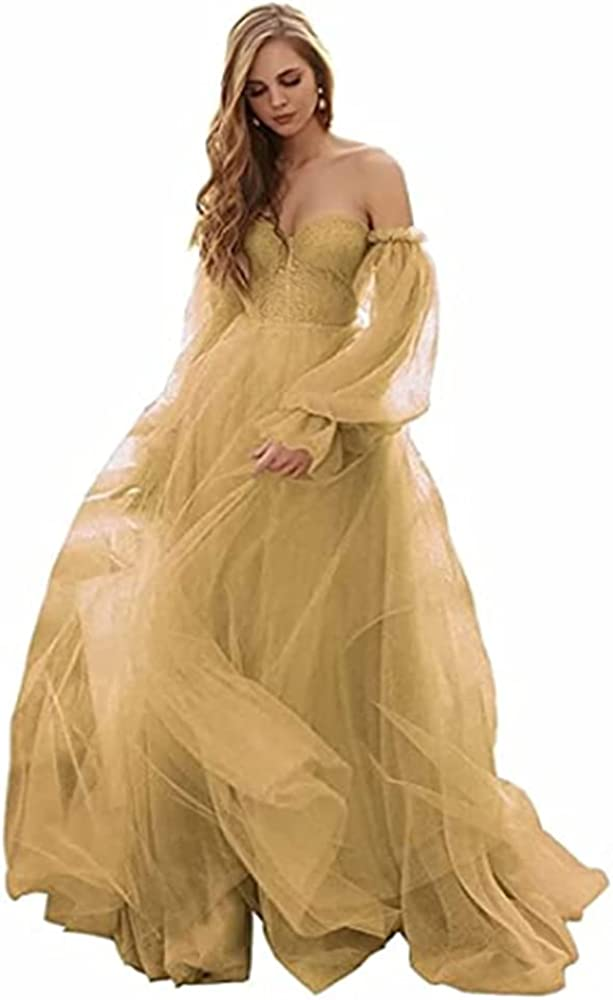 Off The Shoulder Sweetheart Party Dress Long Tulle Puffy Sleeve Formal Princess Ball Gowns