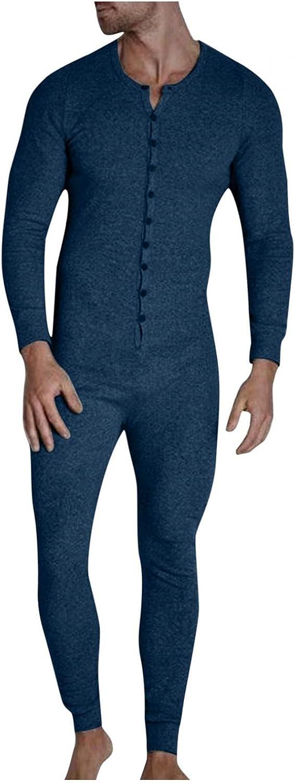FGDJEE Jumpsuit Pajamas for Men Casual Solid Color Button Sexy Paste Open Hip Homewear Bodysuit Sleepwear