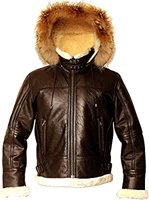 Men's Aviator B3 WWII RAF Shearling Sheepskin with Real Raccoon Hoodie Flight Bomber Leather Jacket : Special Offer (3XL, Brown)
