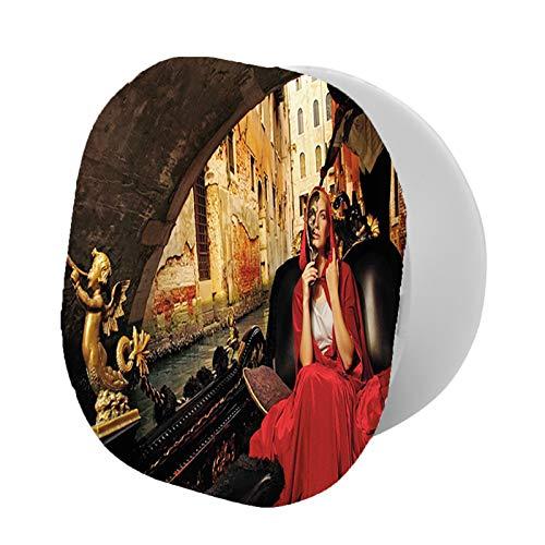 Soporte universal para teléfono celular, mujer joven con una capa roja y máscara de carnaval montando en góndola antigua. Se adapta a todos los teléfonos de 1353 grados y gira ajustable