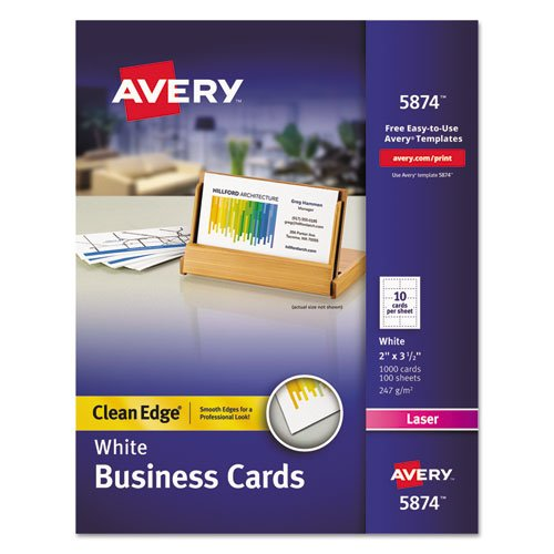 Price comparison product image Clean Edge Business Cards,  Laser,  2 x 3 1 / 2,  White,  1000 / Box