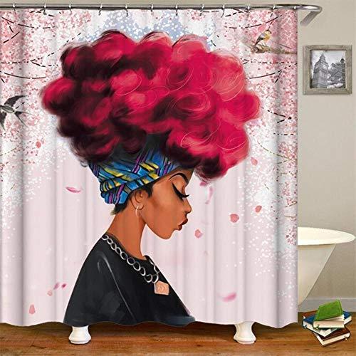 CDFD Afrikaanse Vrouwen Gedrukt Douchegordijnen Badkamer Gordijnstof Grappig Waterdicht Macrame Scherm Home Decor Met Hangende Ring, foto kleur, 180 x 180cm