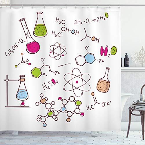 ABAKUHAUS Educativo Cortina de Baño, Dibujo a Mano Estilo Garabato Química Composición Átomo Molécula Probeta, Material Resistente al Agua Colores Vibrantes Antibacterial, 175 x 200 cm, Blanco