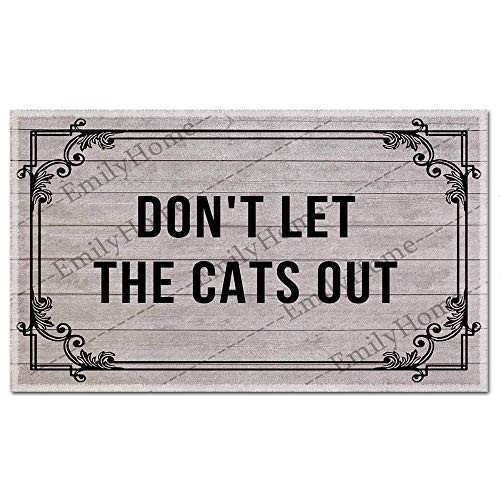 Custom Don't Let The Cats Out Funny DoorMat Welcome Indoor Mats Personalized Novelty Entry Rug 23.6 x15.7