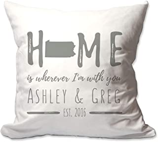 Pattern Pop Personalized Pennsylvania Home is Wherever I'm with You Throw Pillow Cover - 17 X 17 Throw Pillow Cover (NO Insert) - Decorative Throw Pillow Cover - Soft Polyester
