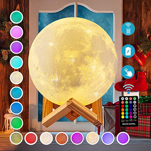 Moon Lamp, DTOETKD 16 Colors 3D Printed Moon Lights Kids Night Light with Stand, Time Setting, Remote & Touch Control, USB Rechargeable, Birthday Gifts for Boys Girls Friends Lover