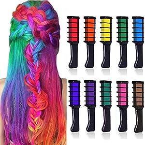 10 Colores Tiza de Pelo, Kalolary Hair Chalk Peine de tiza para el pelo, temporal, no tóxico, para niños, ideal para Navidad, cumpleaños, fiestas, regalos para niñas y niños a partir de 4 años