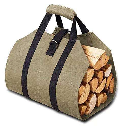 Canvas Log Carrier Bag, Log Carrier Tote Bag, Fireplace Stove Accessories,...