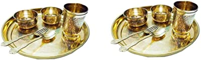 Firsteshop Indian Handmade Pure Brass Embossed THALI Set - Set of 6 (Set of 2 Dinner Set)