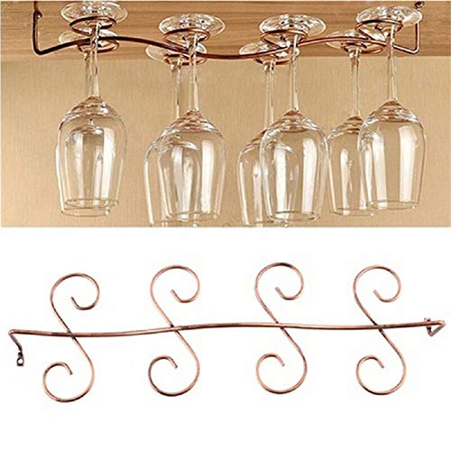 DBYAN Under Cabinet Wine Glass Rack Stemware Holder,Vintage Style Bronze 8 Glasses Stainless Steel...