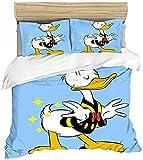 QWAS Donald Duck - Juego de funda nórdica y 2 fundas de almohada (100% microfibra), diseño de pato Donald
