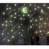 BDwing Luminoso Pegatinas de Pared Estrellas y Luna, DIY Fluorescente calcomanías de Pared, decoración de la Sala habitación del Dormitorio de niños o el Regalo de cumpleaños, 206 Pzas