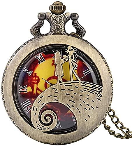 DNGDD Reloj de Bolsillo Reloj de Bolsillo de Bronce para Hombre, Exclusivo Reloj de Bolsillo de Cuarzo con Escala Digital de Roma para Mujer, Reloj Colgante con diseño Hueco de niña pequeña para a