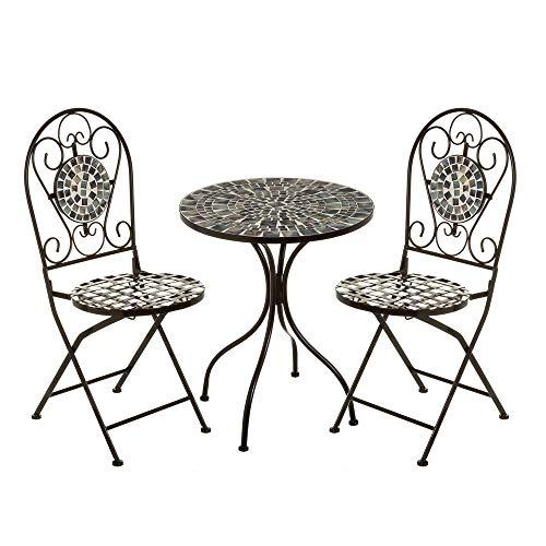 Conjunto de Mesa y sillas de jardín con Mosaico Negro de Metal rústico - LOLAhome
