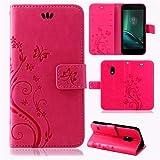 betterfon | Flower Case Handytasche Schutzhülle Blumen Klapptasche Handyhülle Handy Schale für Lenovo Moto G4 Play Pink