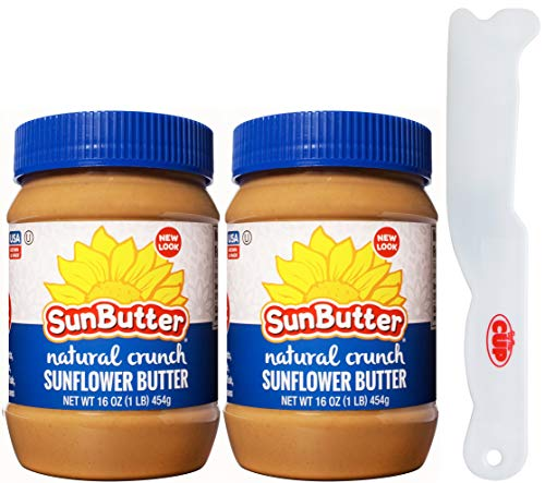 SunButter Natural Crunch Sunflower Butter 16 Ounce (Pack of 2) with By The Cup Spreader