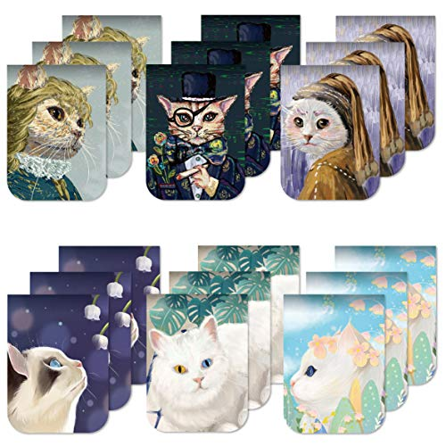 Desecraft 18Pcs Cute Cats Magnetic Bookmarks Page Markers Clips for Kids Woman Teacher Students Reading Planner Books School Office