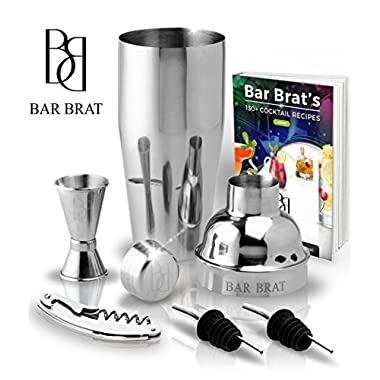 5 Piece Deluxe 24 Oz. Cocktail Shaker Bar Set by Bar Brat ™/Bonus 130+ Cocktail Recipes (ebook)/Jigger, 2 Pour Spouts, Waiters Corkscrew/Mix Any Drink To Perfection