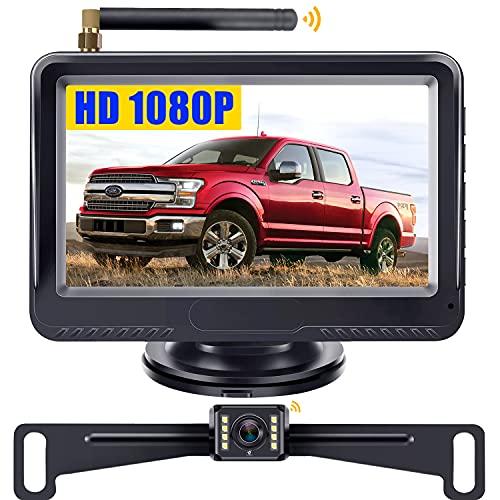 Wireless Backup Camera for Trucks HD 1080P LeeKooLuu F08 Support 2 Rear View Cameras for Cars Sedans Minivans Stable Digital Signal IP69 Waterproof 8 LED Lights Night Vision Grid Lines DIY Setting