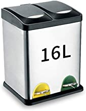 LLDDP-Trash cans Trash Can, Dual Recycling Bin, Suitable For Kitchen/bathroom/living Room/office,Commercial Bins ,16L/24L/30L/45L/48L/60L,Outdoor Dustbins,Silver,Waste Separation Systems Home Recyclin