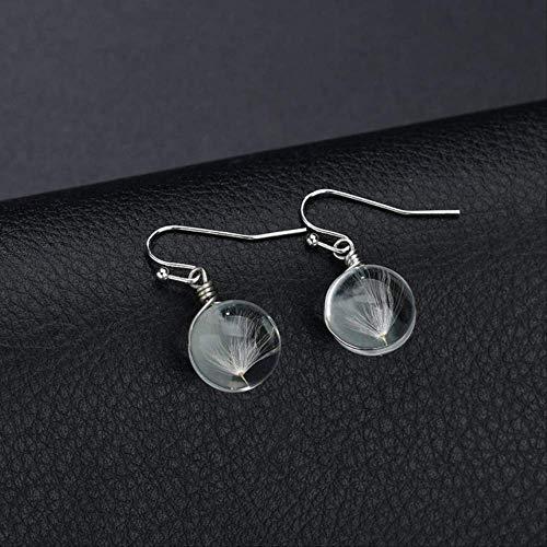 Frauen Ohrringe setzt Reifen Persönlichkeit Retro Glas handgemachte natürliche trockene schöne Blume weibliche Ohrringe für FrauenLöwenzahn