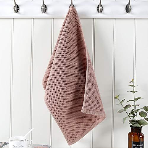 2PC 100% Katoen Handdoeken For Adults Plaid Handdoek Gezichtsverzorging Magic Badkamer Sport Waffle handdoek 33x72cm (Color : Brown)