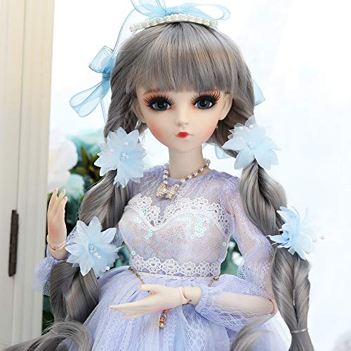 UCanaan BJD Doll, 1/3 SD Dolls 24 Inch 18 Ball Jointed Doll DIY Toys with Full Set Clothes Shoes Wig Makeup, Best Gift for Girls-Hill