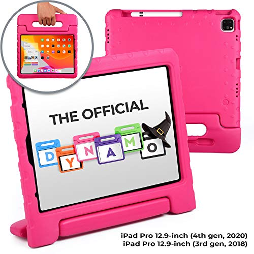 Official Cooper Dynamo [Rugged Kids Case] for 2020/2018 iPad Pro 12.9 4th & 3rd Gen | Protective Foam Cover | Stand, Handle, Pencil Charge Slot (Pink)
