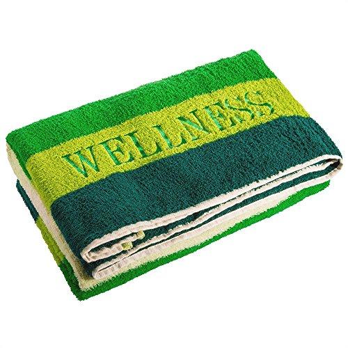 aqua-textil Wellness Saunatuch 80 x 200 cm Streifen grün Baumwolle Frottee Sauna Handtuch Strandtuch