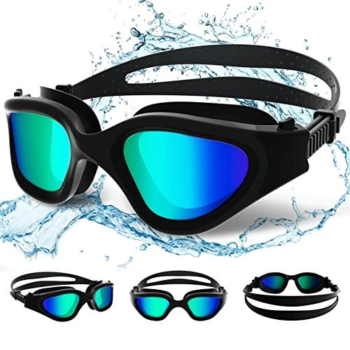Gafas de natación polarizadas Protección UV Impermeable Anti-vaho Gafas Natación de Amplio Rango de Visión para Hombres, Mujeres, Adultos y Adolescentes (Polarized/Full Black with Golden Lenses)