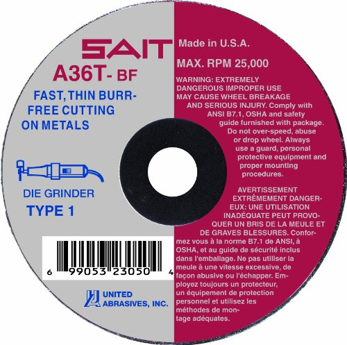 United Abrasives-SAIT 23061 Type 1 A36T Fast Cut-Off Wheels, 4-Inch x 1/16-Inch x 5/8-Inch, 50-Pack