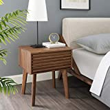 Modway Render Mid-Century Modern End Table or Nightstand in Walnut