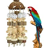 KATUMO Bird Parrot Toy, Large Parrot Toy Natural Wooden Blocks Bird Chewing Toy Parrot Cage Bite Toy Suits for Macaws African Grey Cockatoos Amazon Parrots Ect Large Medium Parrot Birds