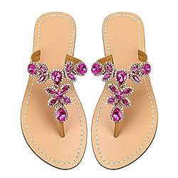 Rose Red & Gold Rhinestone Flat Flip Flop Sandal