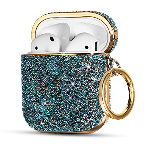 AirPods Case Cover, KINGXBAR Luxury Series Super Bling Crystals Chic Design for Apple AirPods 2 & AirPods 1 with Keychain, Portable Protective Hard Skin Cases for Girls Blue