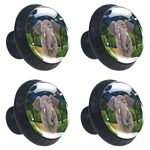 [4 PCS]Decorative Cabinet Wardrobe Furniture Door Drawer Knobs Pulls Handles Hardware Gray Elephant Walking In The Forest At Night