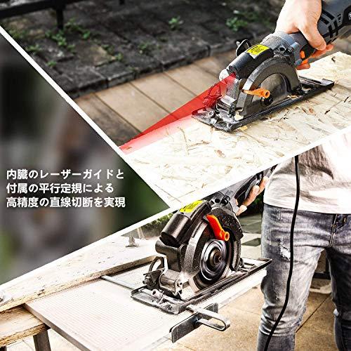 Tacklifeマルノコレーザーガイド刃径120mm3500RPM最大切込47.5mm左に0-45°6本替刃TCS115A