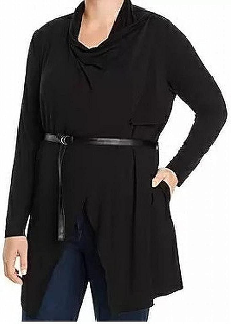 Marc York Performance Womens Sweater Plus Cardigan Black 3X