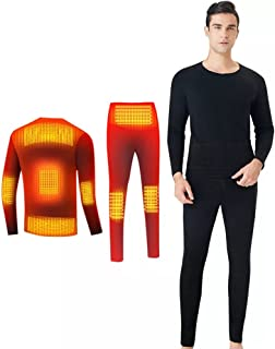 Winter Heating Underwear Set USB Powered Heated Thermal Tops Pants Smart Phone Control Temperature Warm Suit (Not Included...
