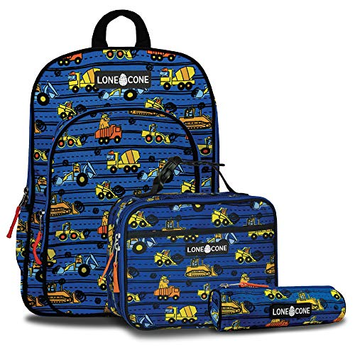 LONECONE Kids' 3-Piece Back to School Kit - Backpack, Lunchbox & Pencil Case- Construction Monsters