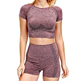Yoga-Kleidung Frauen Yoga Sets Dot Breath Tank Tops Push Up Shorts 2ST Seamless Outdoor-Gym Anzüge...