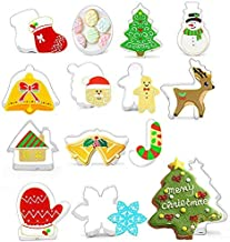 Christmas Cookie Molds 14pcs Stainless Steel Cookie Mould Christmas Embossing Molds-Christmas Tree, Santa Face, Star & Mor...