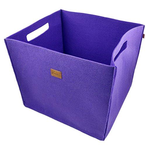 3-er Set Box Filzbox Aufbewahrungskiste Aufbewahrungsbox Kiste für Allelei aus Filz, Korb, Kiste, Boxen, Aufbewahrung für IKEA Regal, Kofferraum, Kellerregal, 3 Stück (Lila)