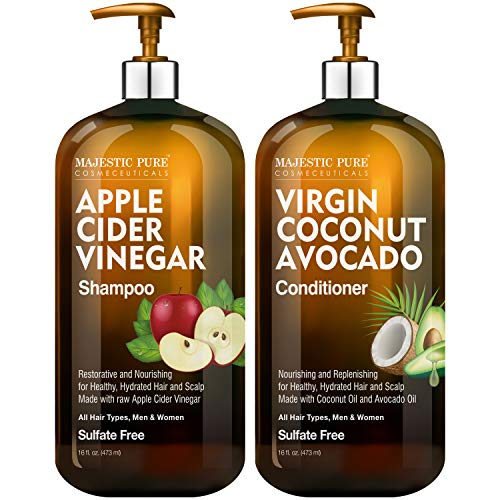 MAJESTIC PURE Apple Cider Vinegar Shampoo and Avocado Coconut Conditioner Set  Restores Shine amp Reduces Itchy Scalp Dandruff amp Frizz  Sulfate Free for All Hair Types Men and Women  2 x 16 fl oz