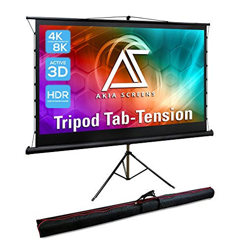 Akia Screens 92 inch Tab Tension Pull Up Projector Screen with Tripod Stand and Bag, 4:3 16:9 8K 4K HD, Black Retractable Projection Screen for Home Theater Indoor Outdoor Movie Video Office AK-PT92UH