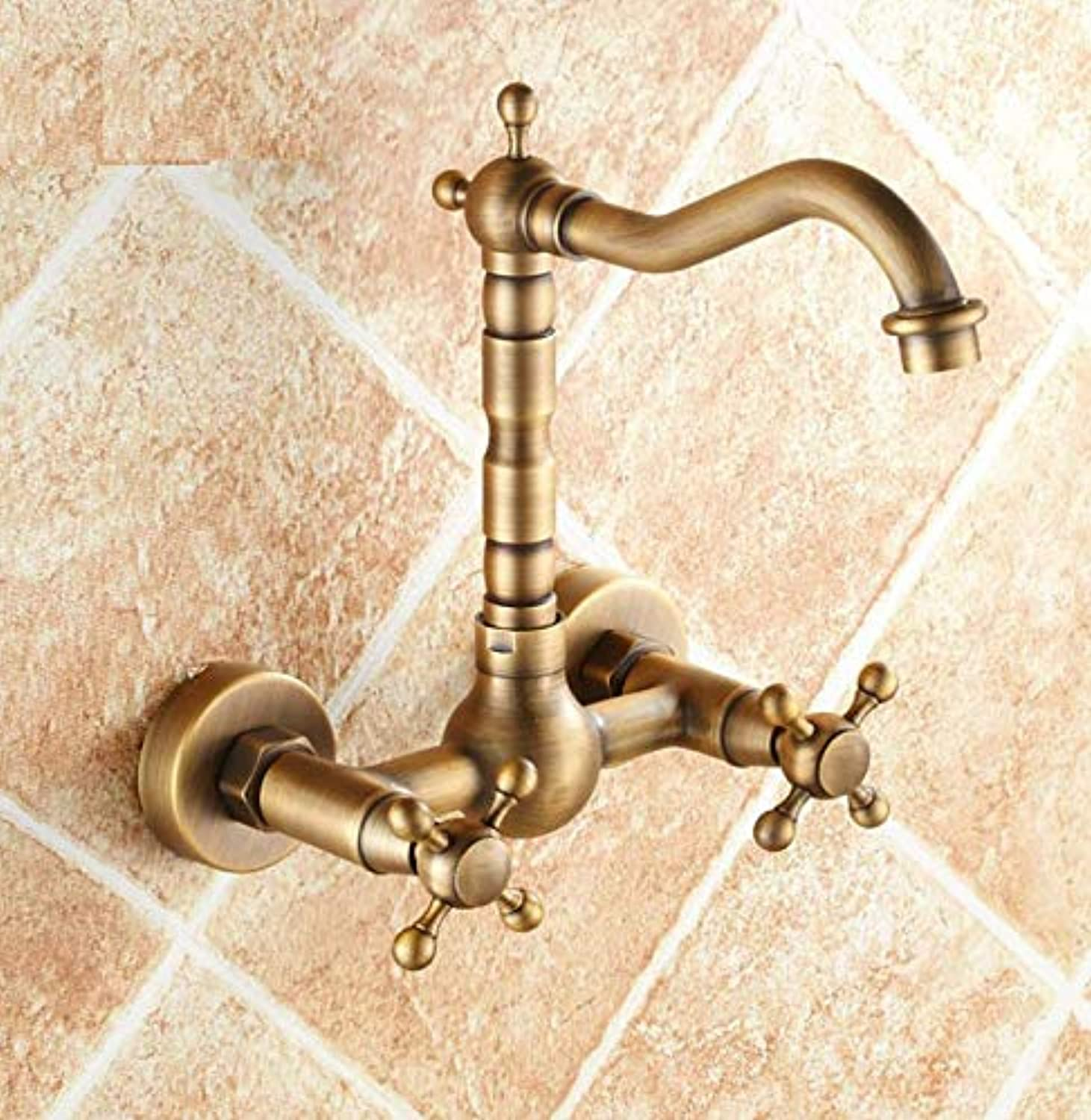 Dwthh New Retro Basin Faucet gold Brass Double Handle Wall Mounted Bathroom Sink Faucet Hot Cold Tap in-Wall Bathroom Tap